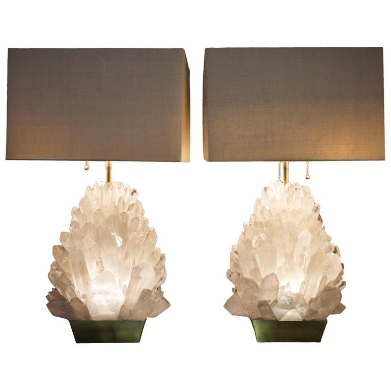 Pair of Natural Rock Crystal Lighting, Demian Quincke For Sale