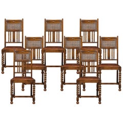 Set of Eight Oak High Back Dining Chairs