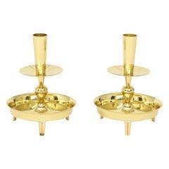 Tommi Parzinger Round Brass Candlesticks