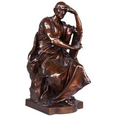 "19th Century ""The Study And Meditation"" Bronze By Paul Dubois"