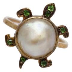 18-Carat Gold Russian Demantoid Garnet and Pearl Turtle Form Ring, circa 1900