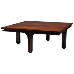 Low Italian Modern Rosewood Coffee Table by Gianfranco Frattini, 1956