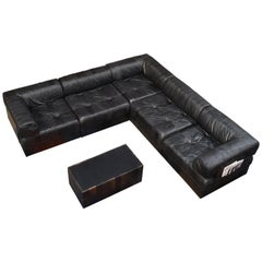 De Sede DS88 Sectional Patchwork Sofa in Black Leather, Switzerland, circa 1970