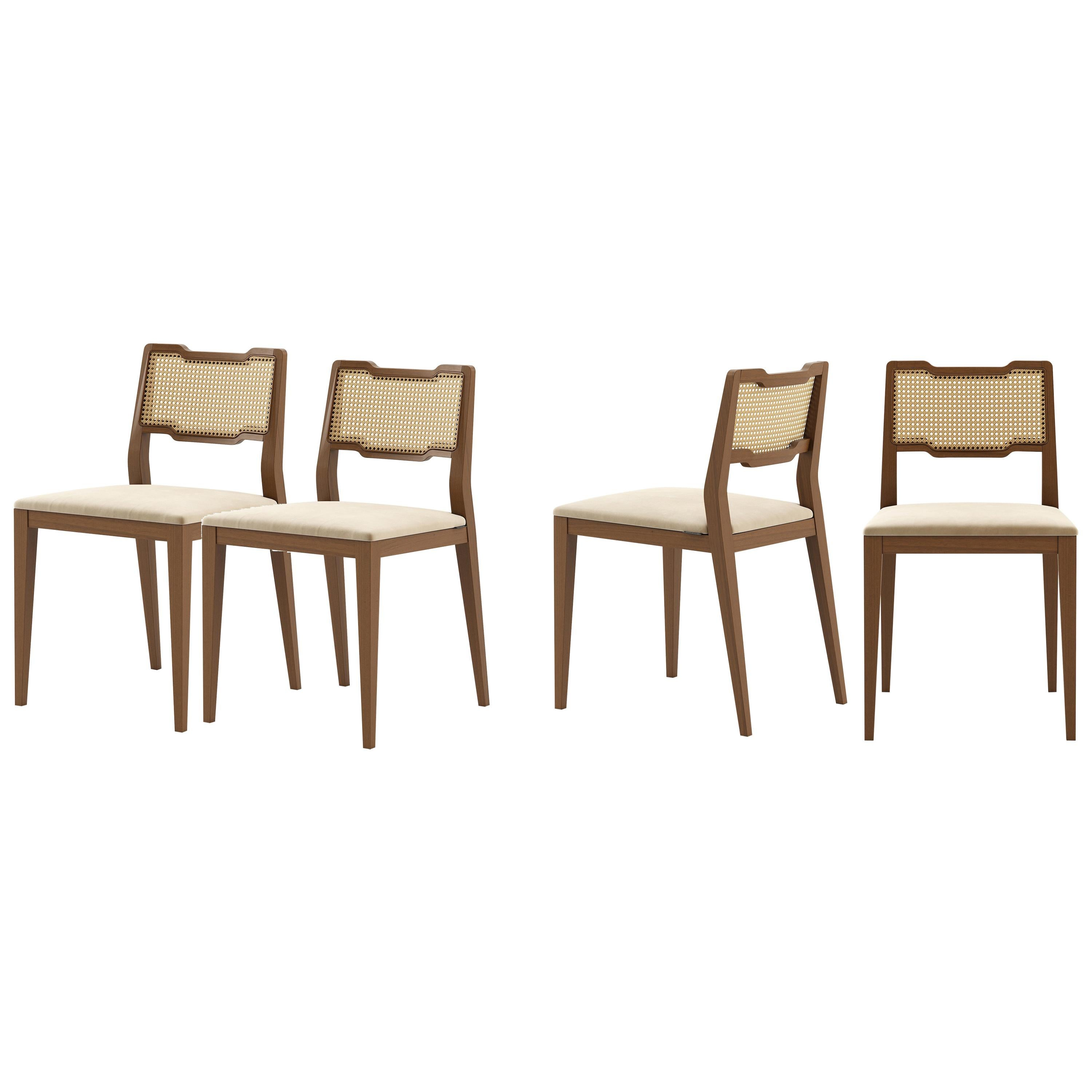 Handcrafted Rattan Dining Chairs in Walnut Finish