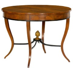 Austrian Biedermeier Fruitwood Round Center Hall Table, 19th Century