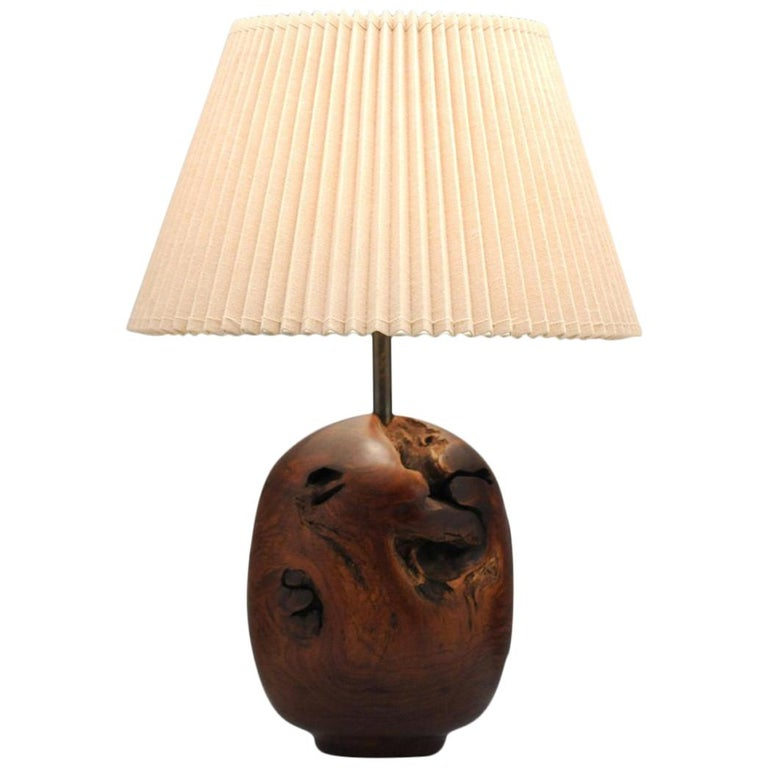 Organic Sculpture Turned Mesquite Table Lamp by Chris Eggers For Sale
