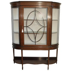 Edwardian Mahogany and Glass Bow Ended Display Cabinet with Shelves