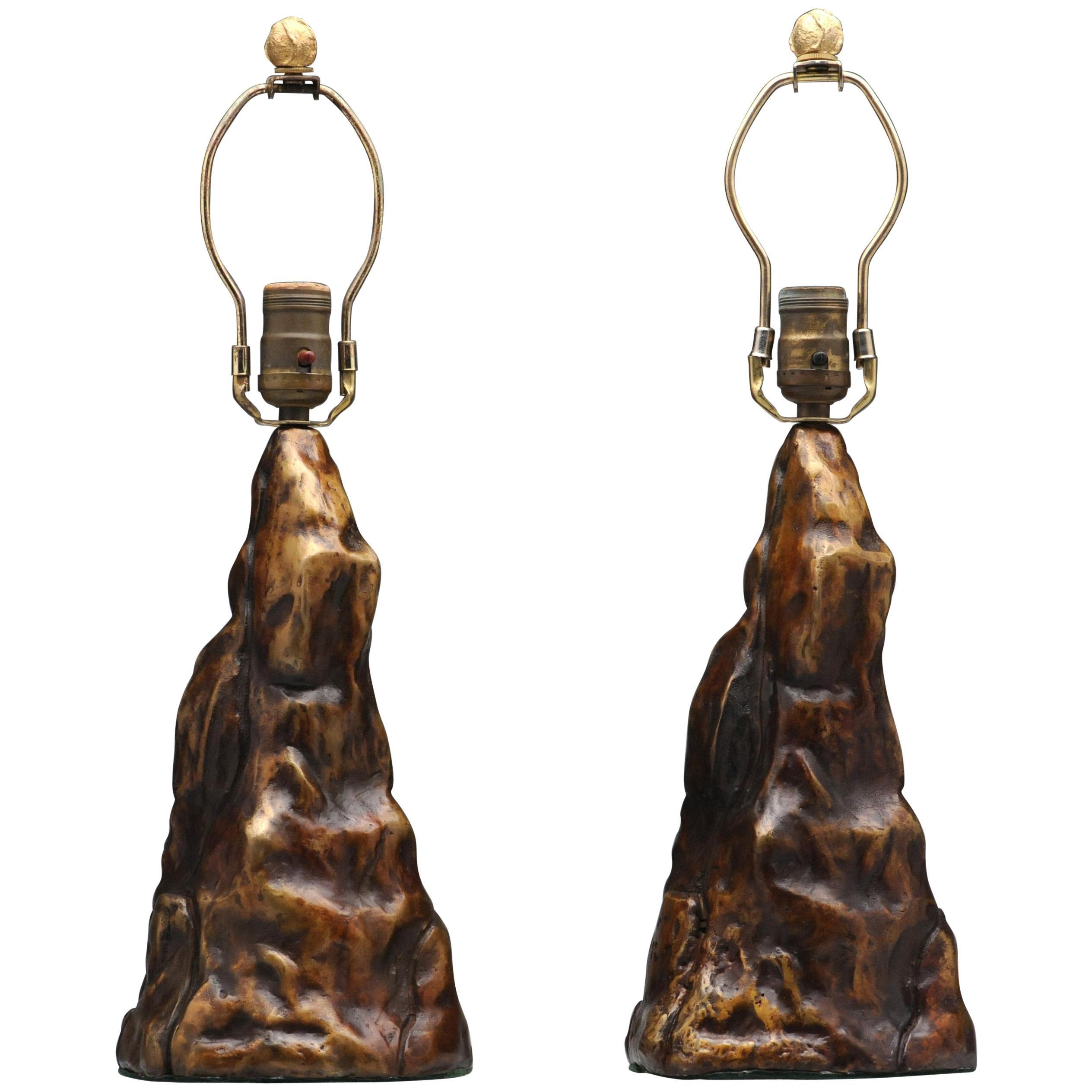 Vintage Pair of Brutalist Bronze Sculptural Table Lamps