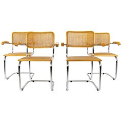 Mid-Century Modern Marcel Breuer Chrome and Golden Beech Cesca Chairs, Italy