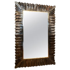 Rectangular Murano Smoked Glass Framed Mirror