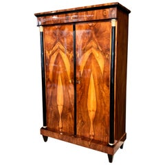 Biedermeier Armoire, Walnut Veneer, Gold-Plate, South Germany, circa 1815/20