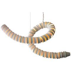 Freeform Ceramic Hanging Lamp with LED Light by Kiki Van Eijk