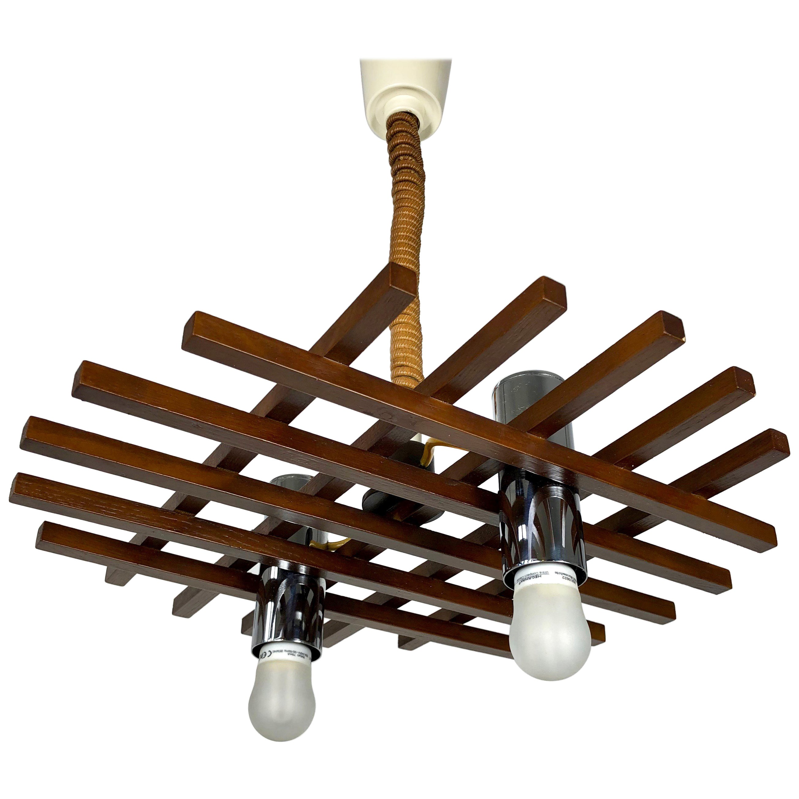 Ceiling Chandelier Two Lights in Teak by Esperia, Italy, 1960s