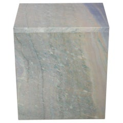 The Marble House White Sivec and Azul Side Table, Handmade in Italy