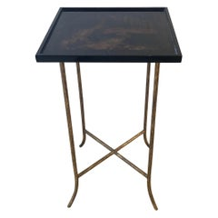 Chinoiserie Lacquer Side Table End Table with Faux Bois Brass Legs