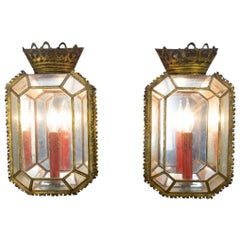 Pair of Early 20th Century Italian Tole and Glass Sconces