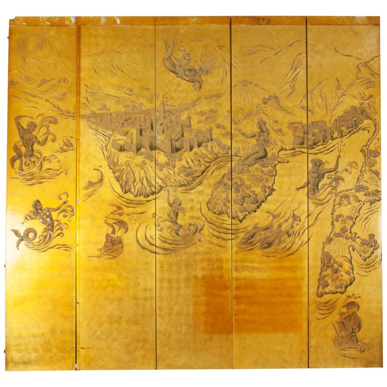 French Art Deco Gold Lacquered Screen by JP Meunier For Sale
