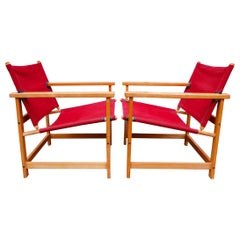 Pair of Danish modern Canvas Safari Style Lounge Chairs ny Hyllinge Mobler