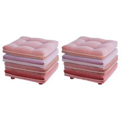 Pair of Custom Pink Ombre / Gradient Stacked Cushion Stools on Brass Casters