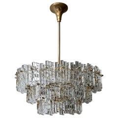 Gilt Brass Crystal Murano Glass Chandelier