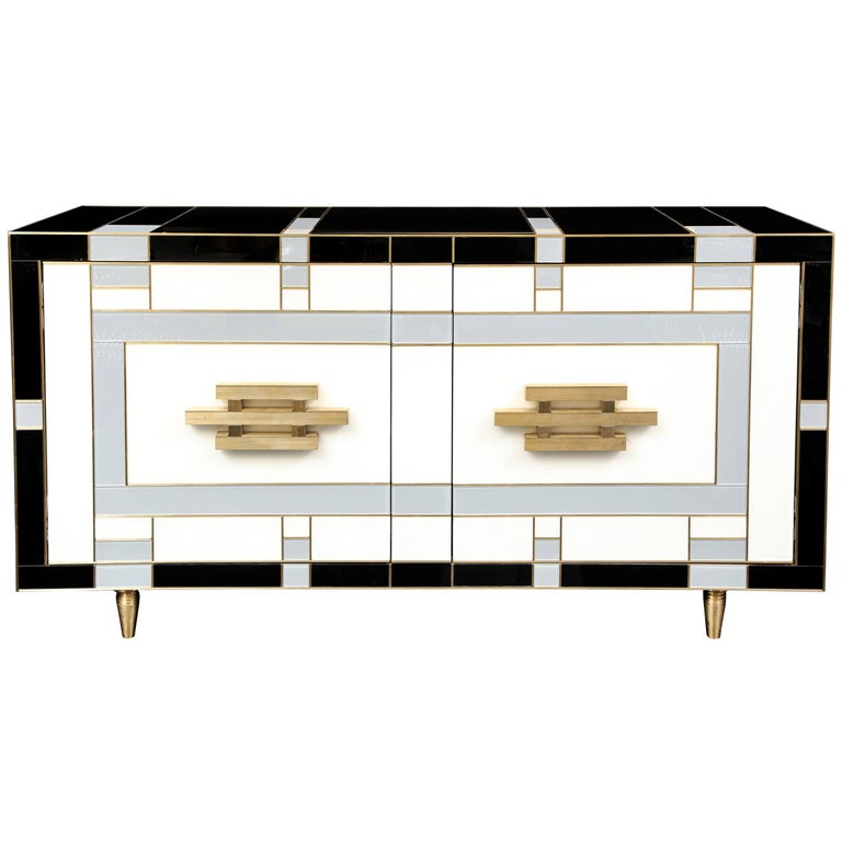 Custom Handcrafted Black, Ivory and Grey Glass with Brass Inlay Sideboard, Spain For Sale
