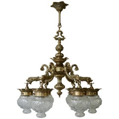 Stunning Brass Chandelier in Gothic or Medieval Style with Dragon Sculptures