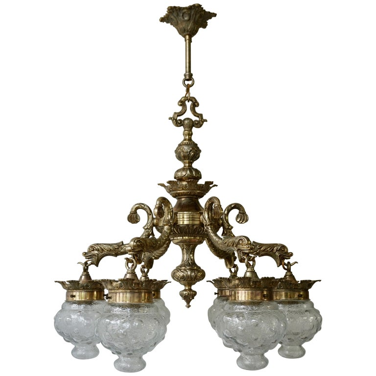 Stunning Brass Chandelier in Gothic or Medieval Style with Dragon Sculptures For Sale