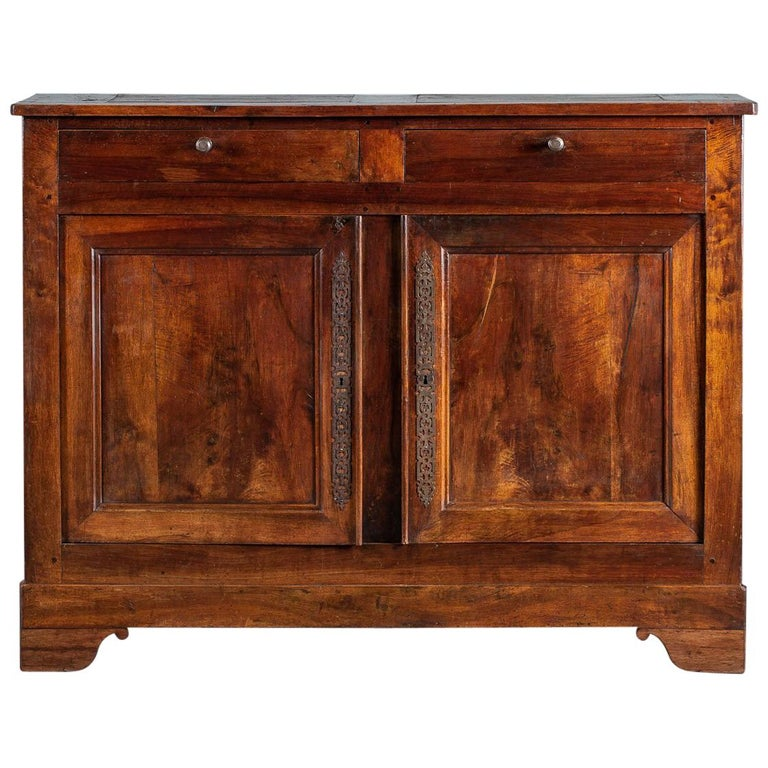 Tall Antique French Walnut Buffet Credenza, circa 1820 For Sale