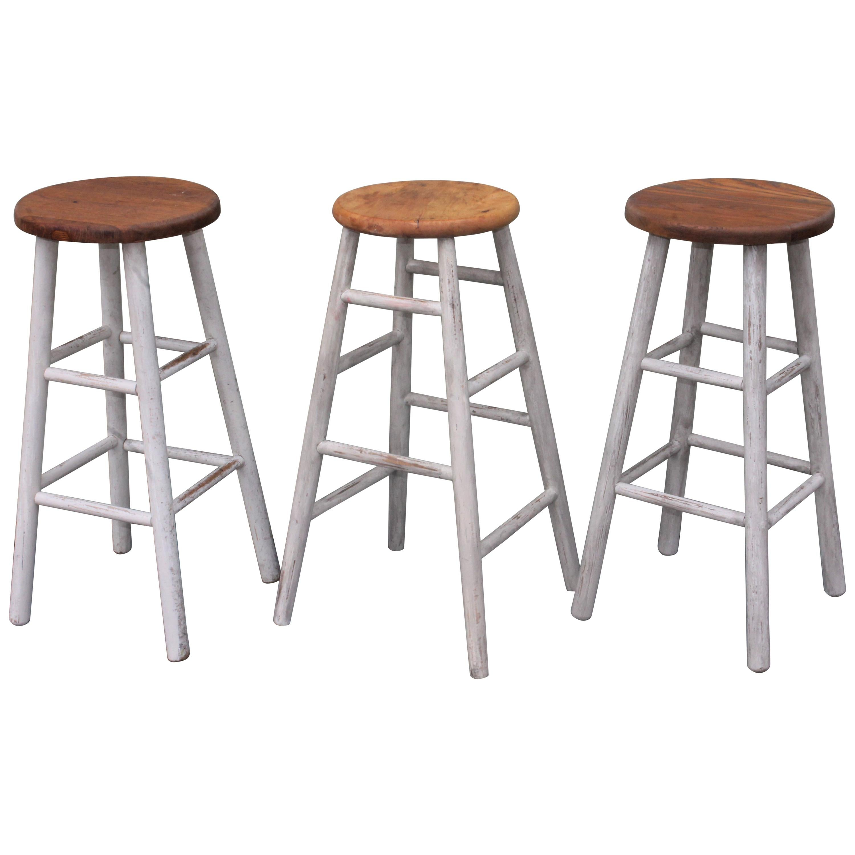 Collection of Three Original White Painted Bar Stools