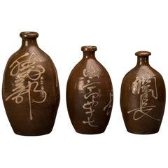 Set of Three Antique Japanese Sake Saki Bottles with Calligraphy, circa 1900