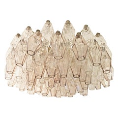 Rose and Clear Glass Venini Polyhedral Chandelier, Italy, 1960s