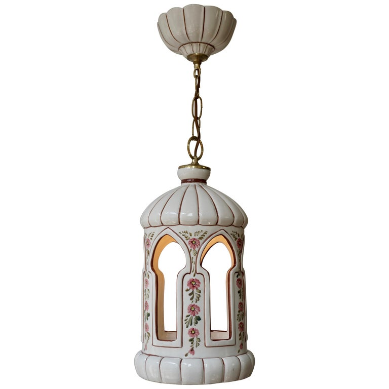 Porcelain and Brass Pendant Light For Sale