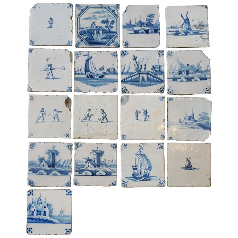 Set of 17 French Tiles, circa 1680 For Sale