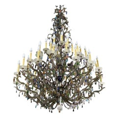 Palatial Muti-colored Crystal and Rock Crystal French Louis XV Chandelier