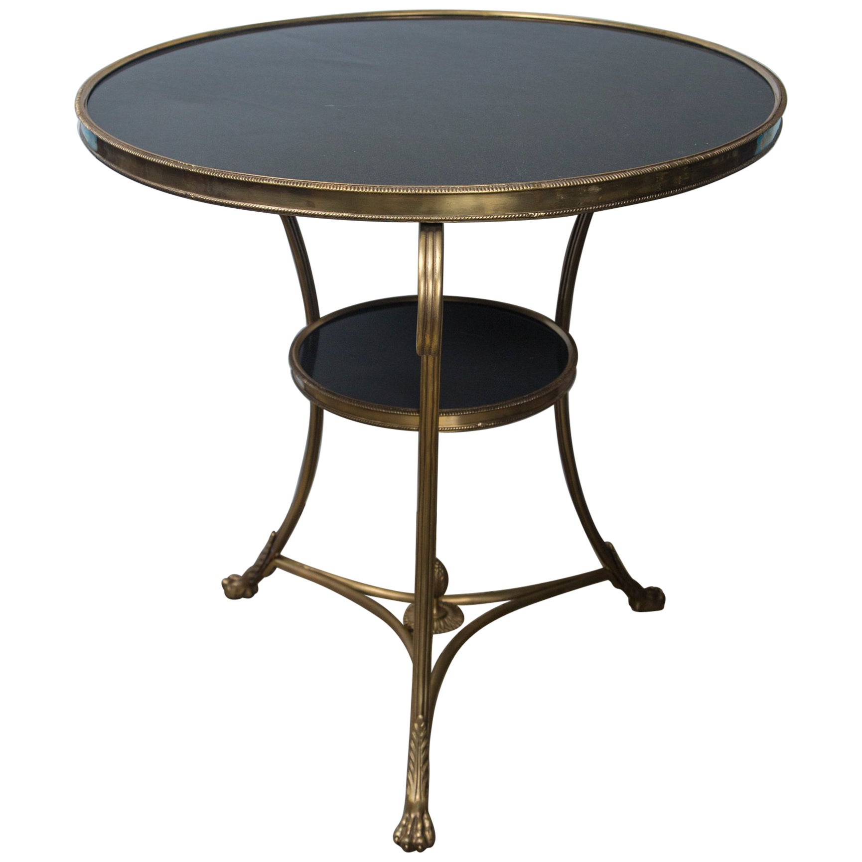 Two-Tier Marble Topped  Brass Gueridon