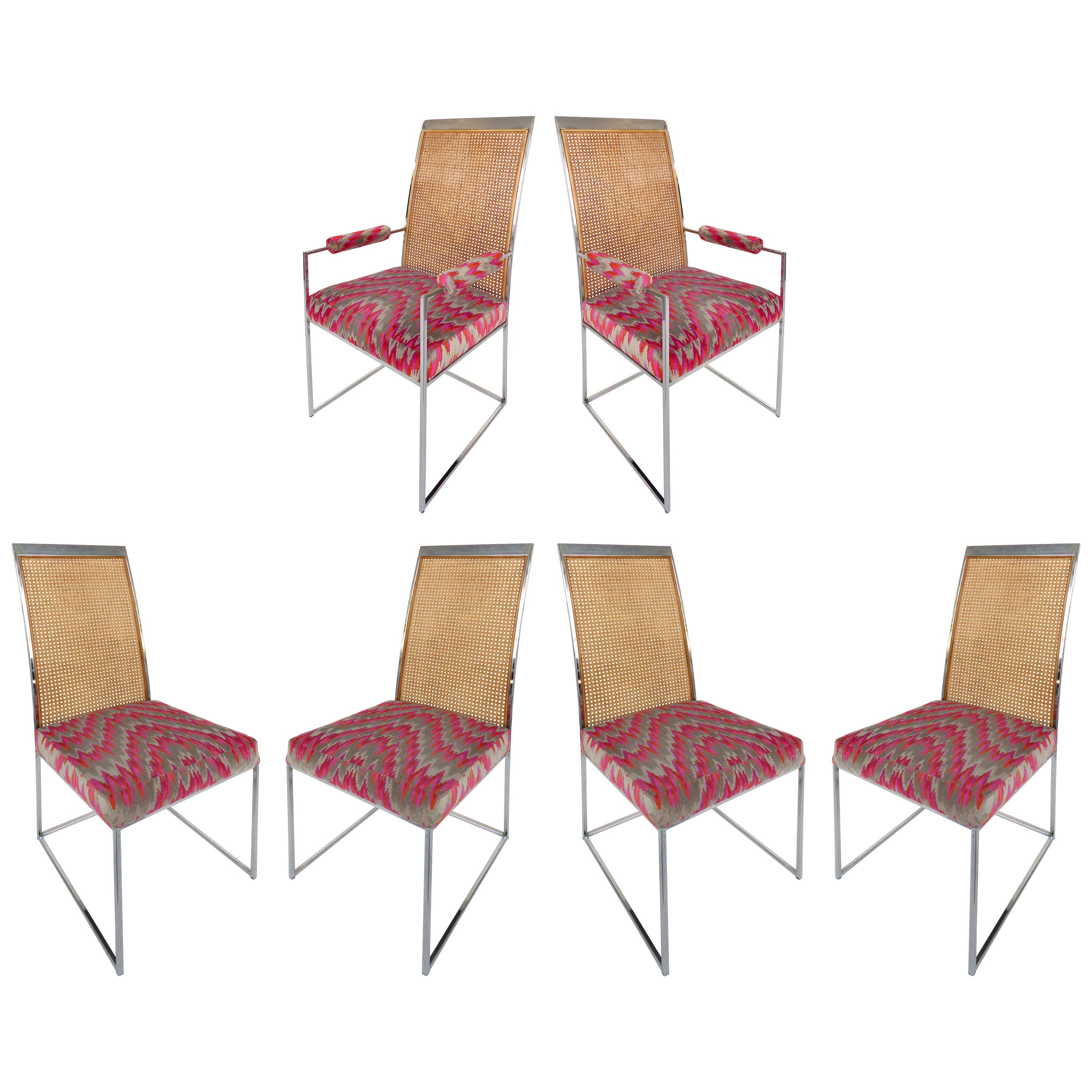 Milo Baughman Thayer Coggin Set of Six High Back Chrome & Caned Dining Chairs
