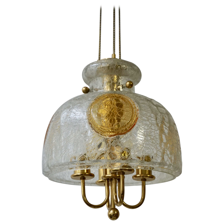 Italian Murano Glass and Brass Pendant Light