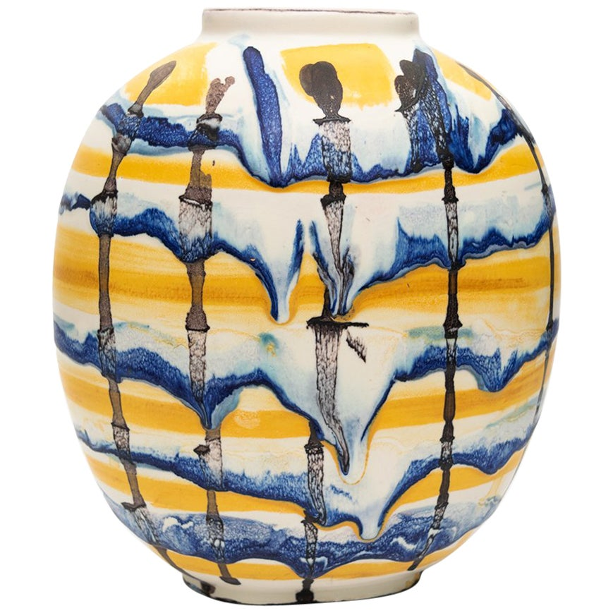 Carl-Harry Stalhane Scandinavian Modern Hand Decorated Drip Vase, 1943 Rorstrand