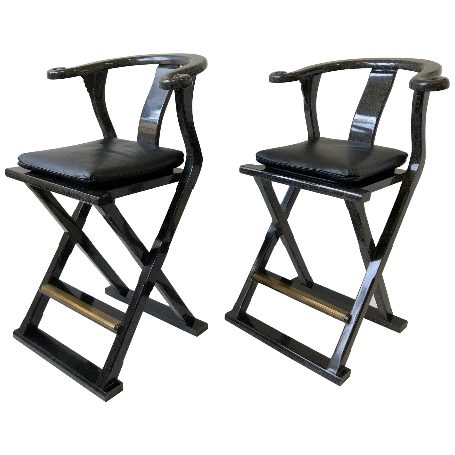 Pair of Lacquered and Leather Asia Style Barstools by Marge Carson
