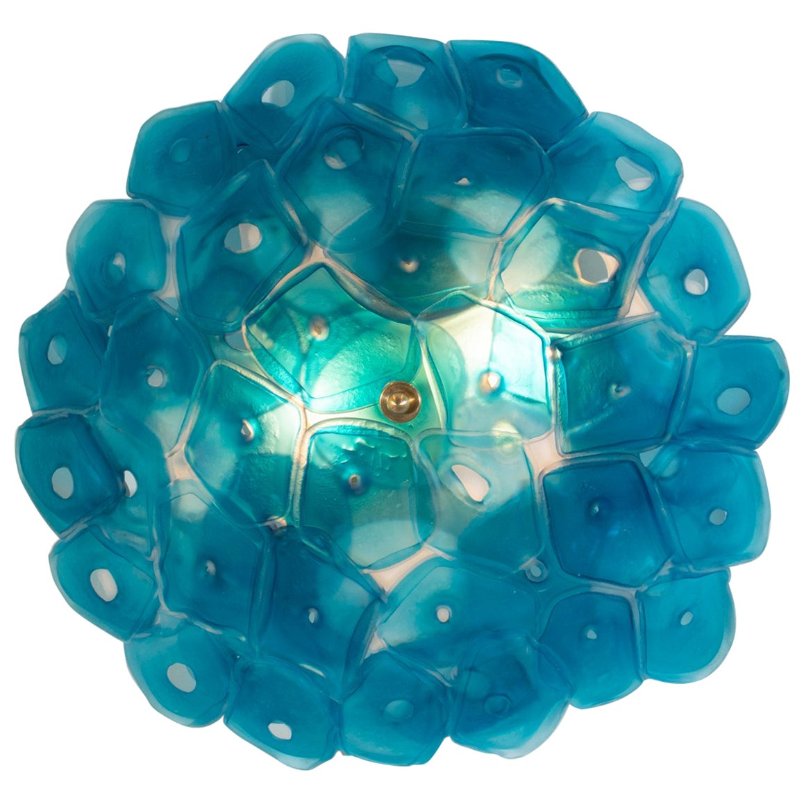 Sculptural Wall Sconce in Slumped and Fused Blue Glass by Jeff Zimmerman, 2018