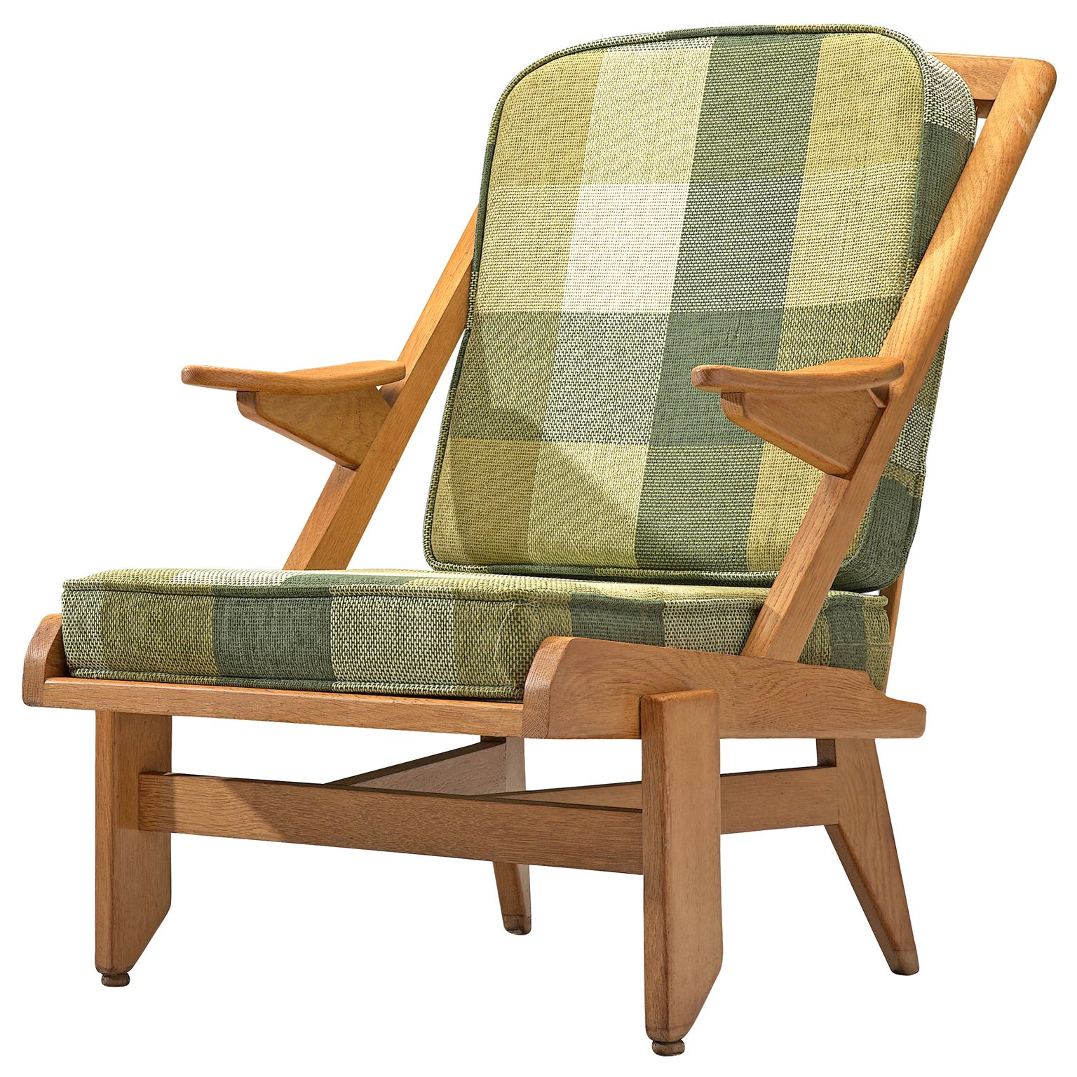 Guillerme et Chambron Lounge Chair with Green Checkered Upholstery
