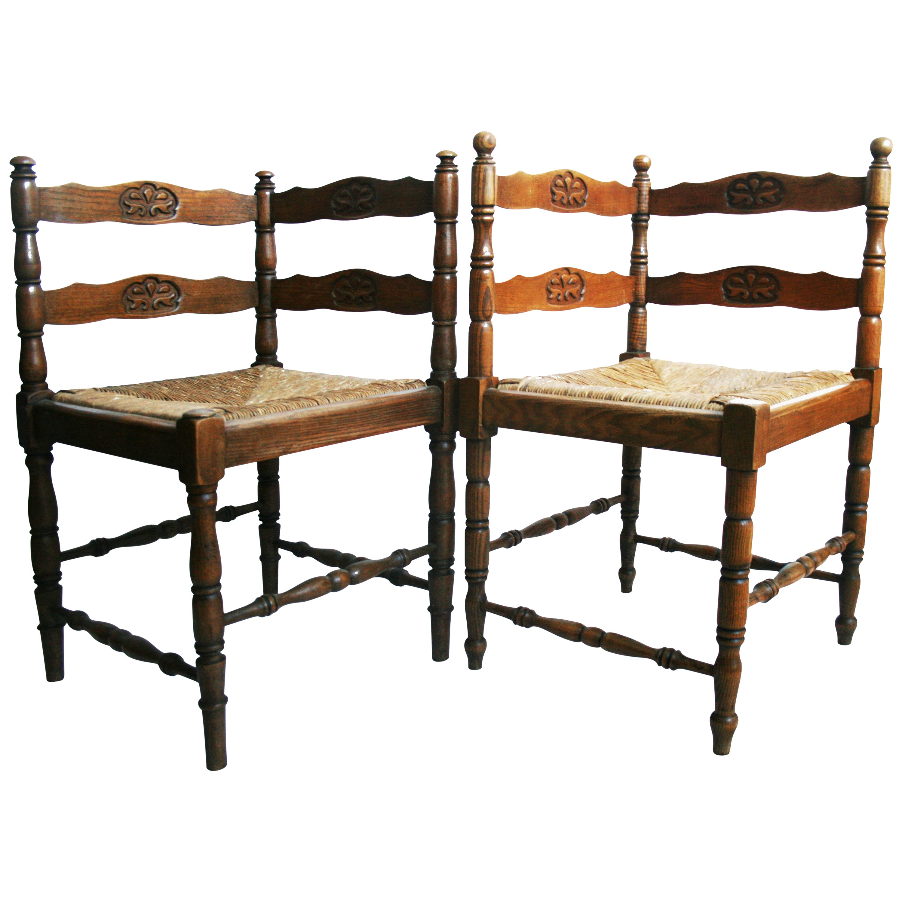 Pair of Corner Chairs Carved with Rush Seat Turned Legs, France, 19th Century