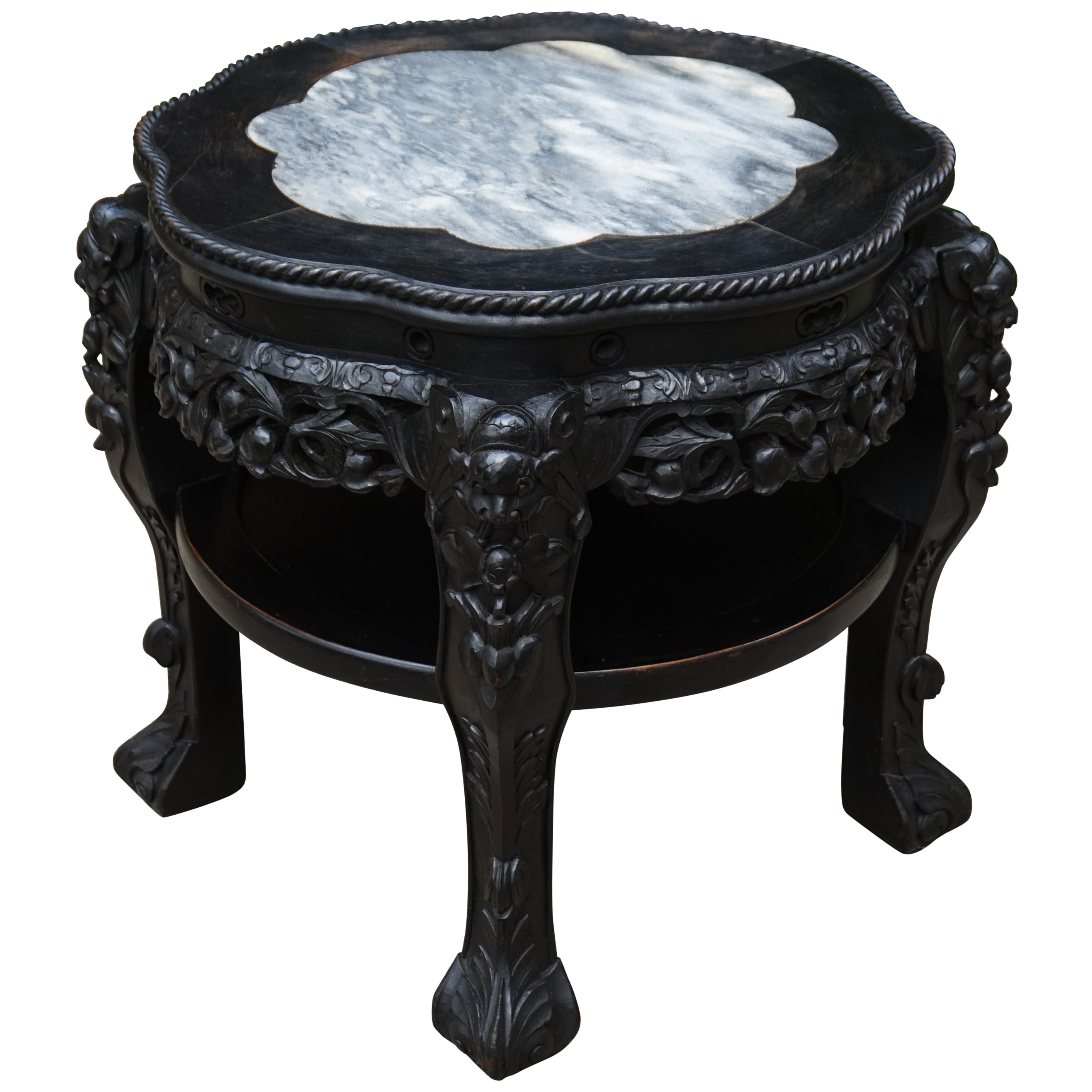 Antique Hand Carved & Ebonized Chinese Plant Stand / End Table with Marble Top