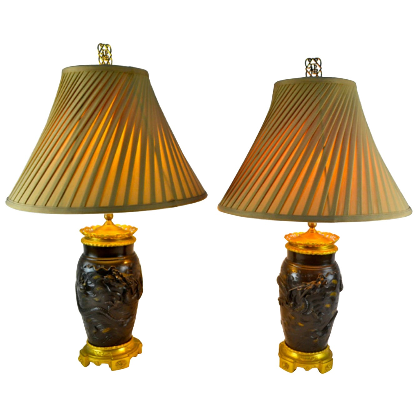 Pair of Japanese Meiji Period Bronze Lamps