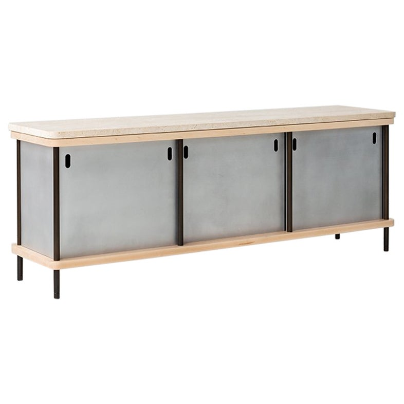 Contemporary 3-Door Strata Credenza with Travertine and Maple by Fort Standard
