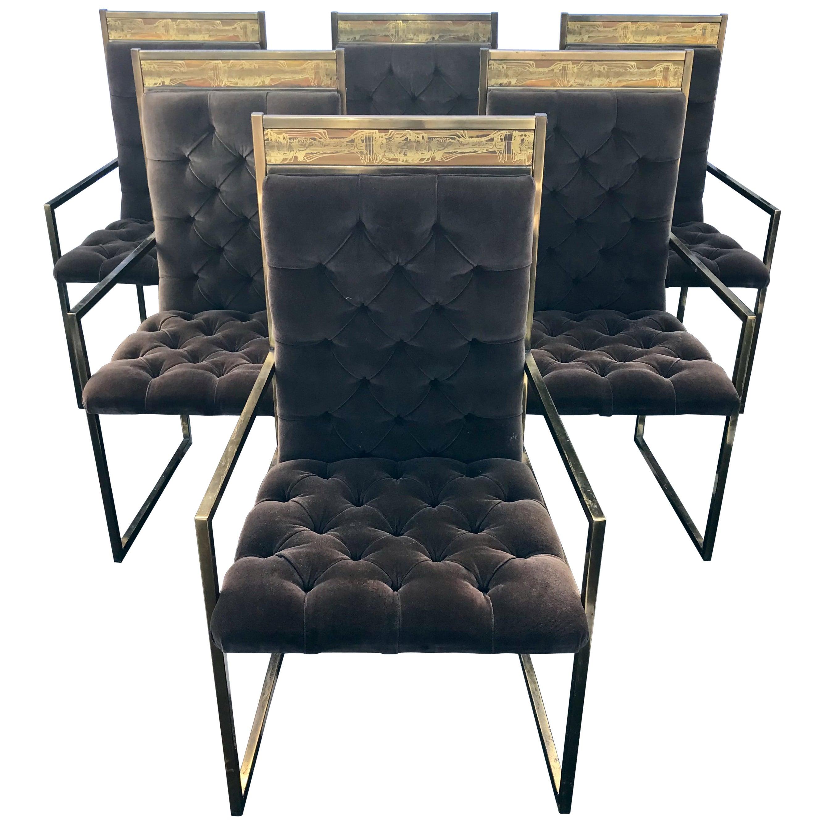 Set of 6 Mid Century Mastercraft B. Rohne Brass Velvet Tufted Dining Chairs