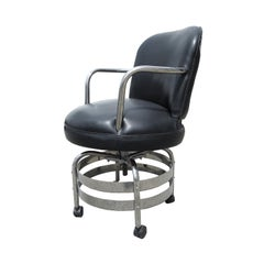 Art Deco Desk Chair in Chrome and Leatherette