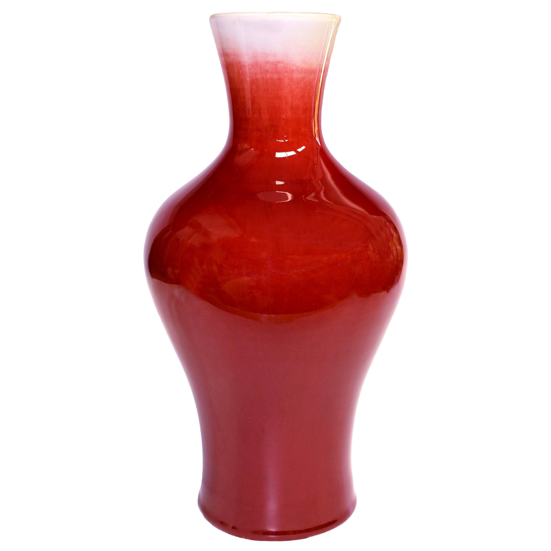 Chinese Oxblood Red Porcelain Vase, Sang De Boeuf