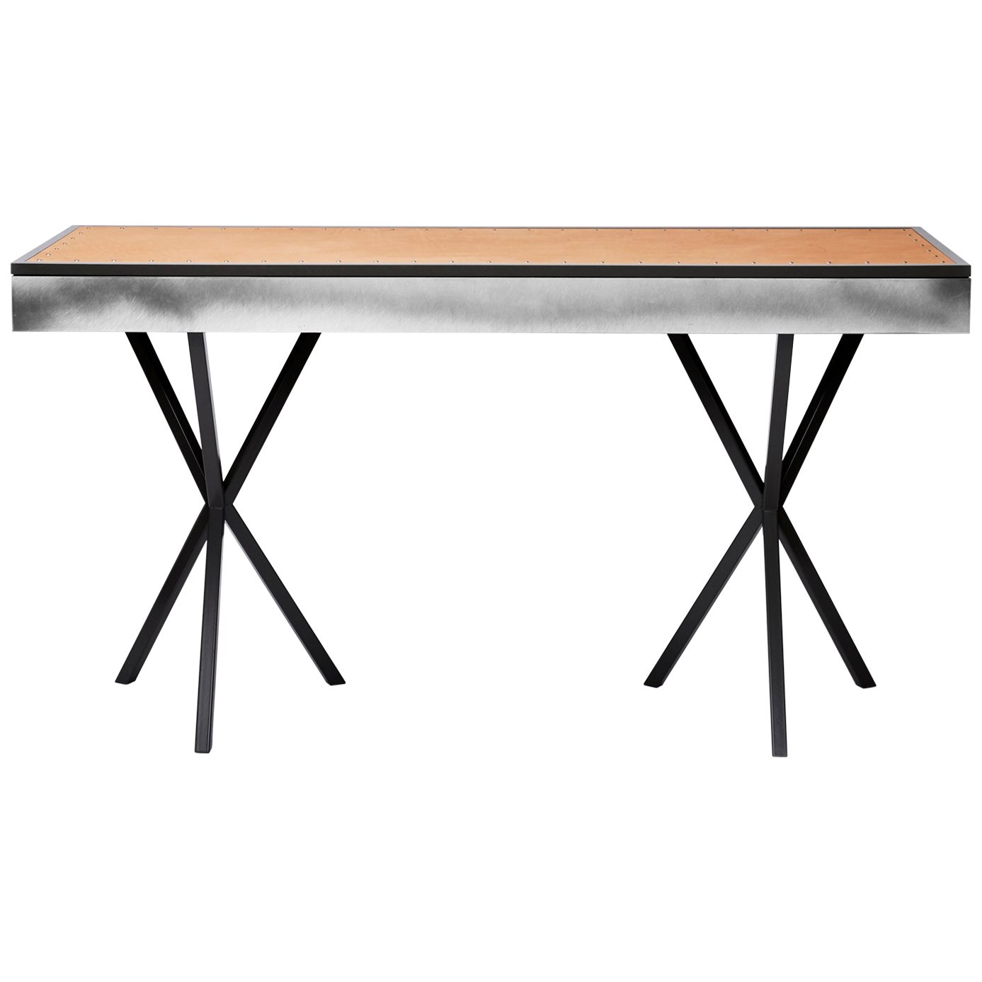 Contemporary Neb Writing Desk with Leather Top and Metal Front by Per Soderberg