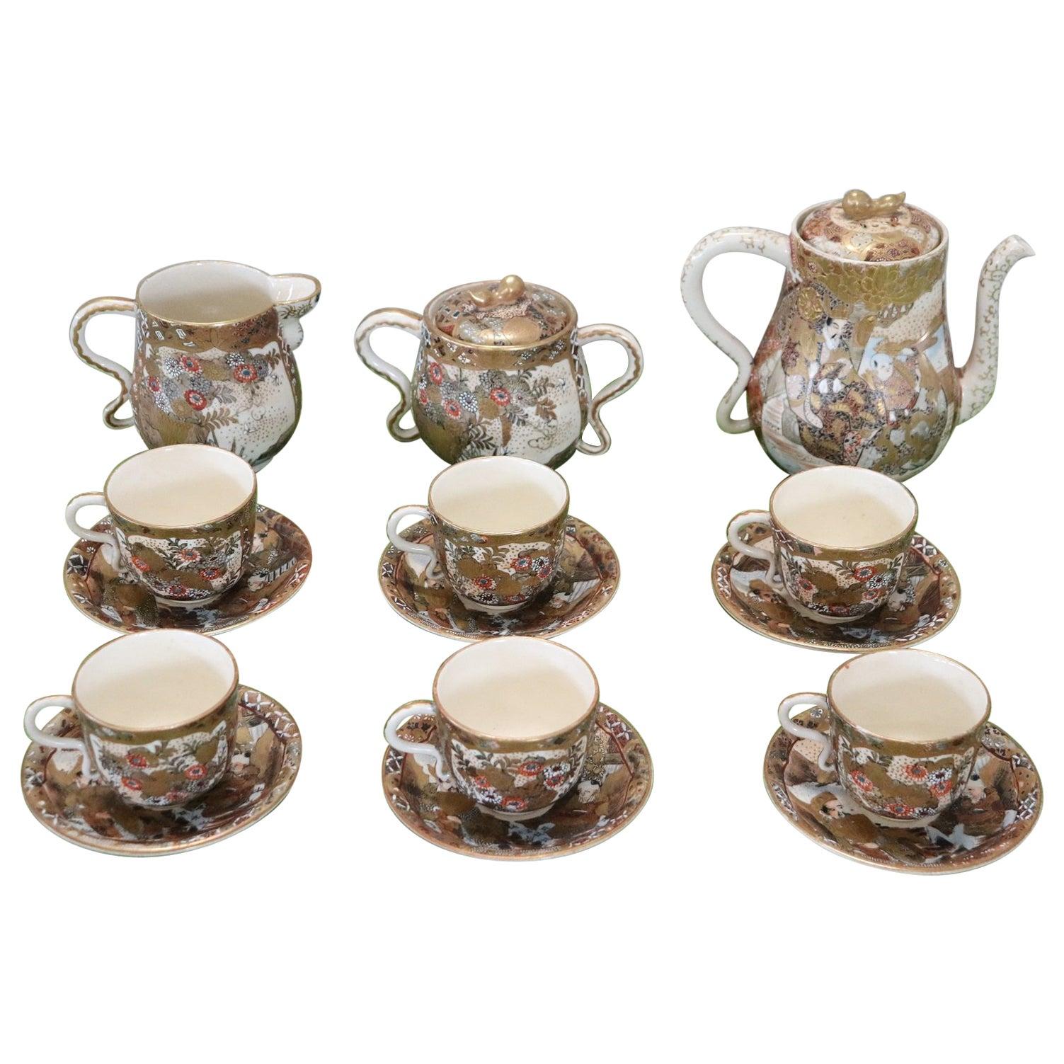 19th Century Satsuma Japanese Hand Painted Porcelain Tea or Coffee Set 15 Pieces